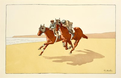 Lot 1003 - Charles Ancelin (1863 - 1940) French Race horses exercising on the beach Lithograph, together...
