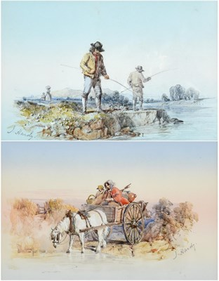 Lot 1013 - James Hardy Jr. (1801-1889) The Anglers Signed, pencil and watercolour heightened with white,...