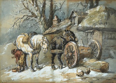 Lot 1021 - Harden Sidney Melville (1824-1894) A blacksmith shoeing a horse outside a thatched cottage in...
