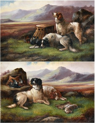 Lot 1028 - Robert Cleminson (fl.1864-1903) Spaniels with the day's bag  Signed, oil on canvas, together with a