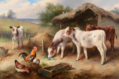 Lot 1028A - Walter Hunt (1861-1941)  Calves and poultry feeding at a thatched stable  Signed and dated...