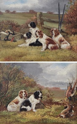 Lot 1029 - Sylvester Martin (19th/20th century) Pair of Spaniels beside the day's kill Group of Spaniels...