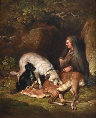 Lot 1031 - Follower of Sir Edwin Henry Landseer RA (1802-1873) Deer hunter with kill and attendant hounds...