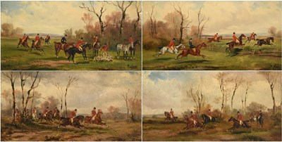 Lot 1035 - Rudolph Stone (1838-1914)  ''Taking a Fence''  ''In Full Cry''  ''In Full Cry''  ''The Kill''...