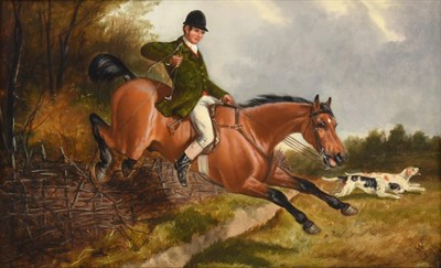 Lot 1038 - John Alfred Wheeler (1821-1903) Taking a fence Signed, oil on board, 28cm by 45.5cm  See...