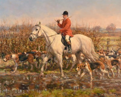 Lot 1043 - Frederick J Haycock (b.1948) Huntsman and Hounds Signed, oil on canvas, 59cm by 74.5cm...