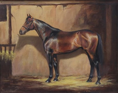 Lot 1044 - Frank Geere (1931-1991) Study of a Bay Horse in a stable Signed and dated (19)85, oil on...