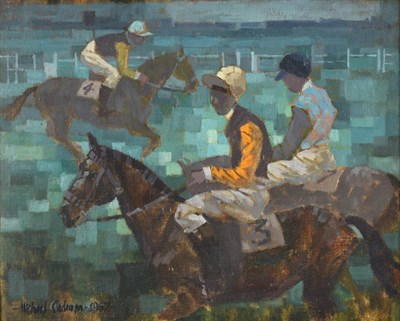 Lot 1045 - Michael Lawrence Cadman (1920-2012) Race horses with jockeys up Signed, oil on canvasboard, 40cm by