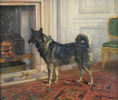 Lot 1049 - Anthony De Bree (1855-1921)  Study of Lady Halifax's dog in the drawing room at Garrowby Hall...
