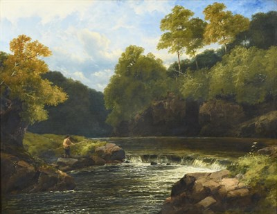Lot 1052 - John Brandon Smith (1848-c.1893) Angler in an extensive woodland landscape  Signed and dated...