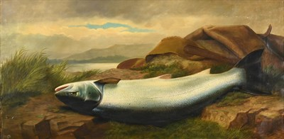 Lot 1053 - John Bucknell Russell (1819-1893)  Landed salmon and canvas bag by the waterside  Signed, oil...