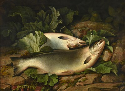 Lot 1054 - Attributed to John Bucknell Russell (1819-1893)  Landed Salmon on the riverbank Oil on canvas, 62cm