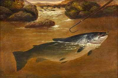 Lot 1055 - Attributed to A Roland Knight (fl.1879-1921) ''Salmon and a gaff'' Bears signature, oil on...
