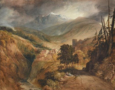 Lot 1059 - Attributed to Anthony Vandyke Copley Fielding (1787-1855) Isella on the Simplon Pass...