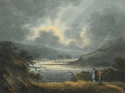 Lot 1060 - William Payne OWCS (1760-1830) ''Near Plymouth, Sunset'' Watercolour, 14.5cm by 19.5cm  See...