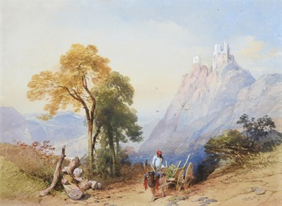 Lot 1061 - Thomas Miles Richardson Snr. (1784-1848)  Continental mountain landscape with horse and cart...