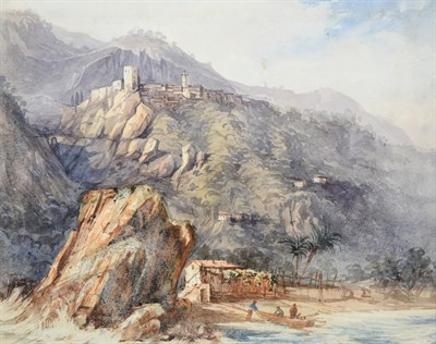 Lot 1064 - William Purser (c.1790-1852)  Bringing in a rowing boat on a tropical shoreline Watercolour, 15.5cm