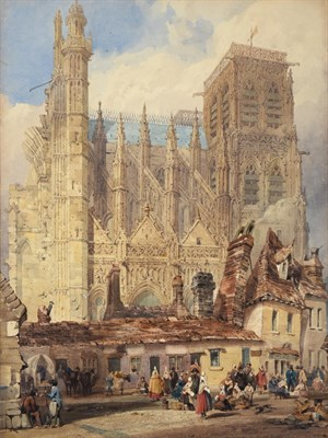Lot 1066 - Thomas Shotter Boys NWS (1803-1874) ''The Church of St. Wulfram, (North Side), Abbeville''...