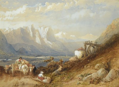 Lot 1067 - Clarkson Stanfield RA RBA (1793-1867) ''In the Tyrol'' Watercolour heightened with white, 23cm...