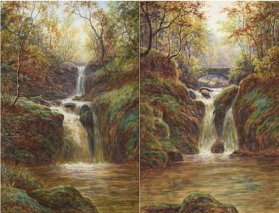 Lot 1068 - William Mellor (1851-1931) ''Upper Falls Rydal''  ''Lower Falls Rydal''  Each signed,...