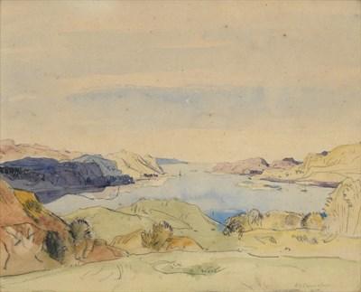 Lot 1070 - Sir David Young Cameron RA (1865-1945) Scottish ''Kerrera'' Signed, pencil and watercolour, 25cm by