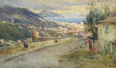 Lot 1072 - Arthur Reginald Smith ARA, RSW, RWS (1871-1934) Figures approaching a Continental coastal town...