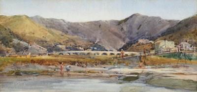 Lot 1073 - Arthur Reginald Smith ARA, RSW, RWS (1871-1934) Children paddling in an estuary and before a...