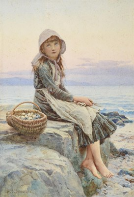 Lot 1074 - Henry James Johnstone (1835-1907) The Sea Urchin Signed, watercolour 25cm by 17cm  Provenance:...