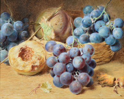Lot 1077 - William Henry Hunt (1790-1864) Still life of grapes, peaches and cob nuts Signed, watercolour...