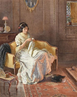 Lot 1079 - William Kay Blacklock (1872-1924) A quiet moment - a lady undertaking needlework by the...
