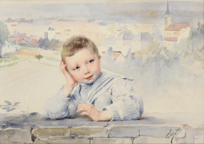 Lot 1080 - Henri Jules Jean Geoffroy (1853-1924)  ''Garçon dans la Ville'' Watercolour, 30cm by 40cm...