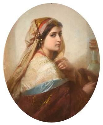 Lot 1082 - Circle of Carl Haag (1820-1915) German  Portrait of an Orientalist beauty, head and shoulders,...