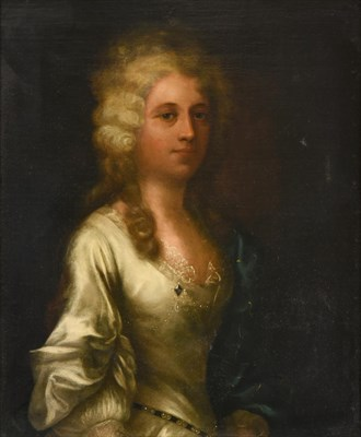 Lot 1086 - English School (late 18th century) Portrait of a lady, wearing a white satin dress trimmed with...