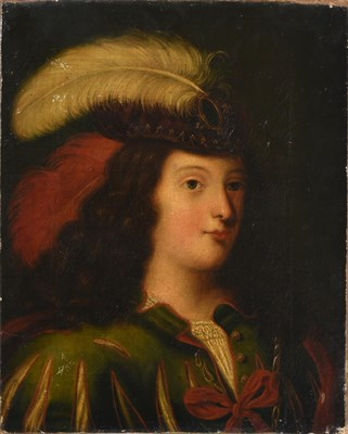 Lot 1089 - Follower of Ferdinand Voet (1654-1689) French Portrait of a lady in a plumed hat and fanciful...