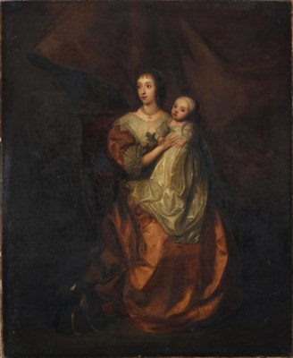 Lot 1091 - After Sir Anthony Van Dyck (1599-1641) Portrait of Queen Henrietta Maria and child, full...