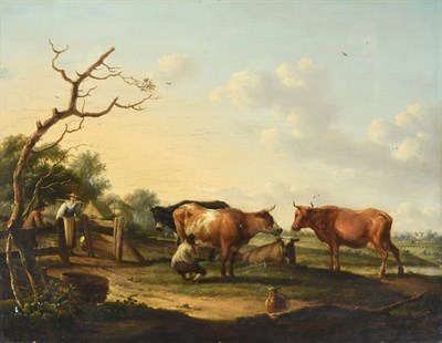 Lot 1092 - Dionys van Dongen (1748-1819) Dutch Milking the herd - countryfolk and cattle in an extensive...