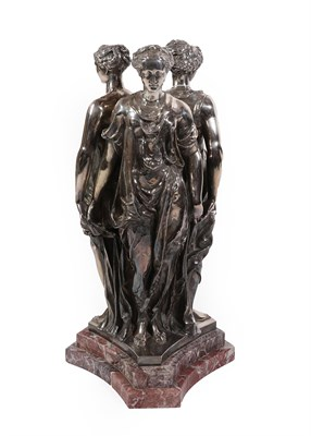 Lot 3 - A French Silver Plate Figure Group of the Three Graces, 19th century, stamped AD Fountaine,...