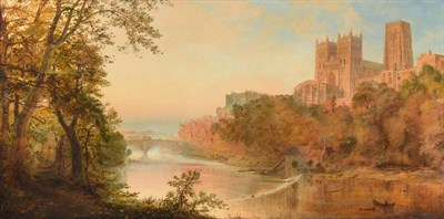 Lot 9 - Circle of Edmund John Niemann (1813-1876)  Durham Cathedral from the River Wear  Indistinctly...