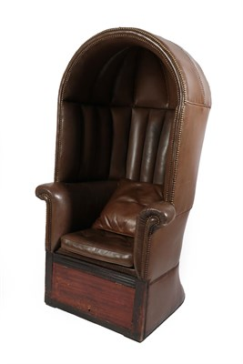Lot 10 - A Porter's Chair, 19th century, with arched canopy and flared rounded back, the seat with squab...