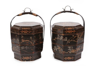 Lot 11 - A Pair of Chinese Gilt Lacquered Octagonal Sectional Food Carriers, each with bentwood carrying...