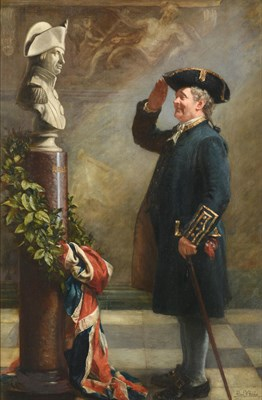 Lot 12 - Albert William Holden (Professor) (1848-1932)   ''Saluting the Admiral''   Signed and...