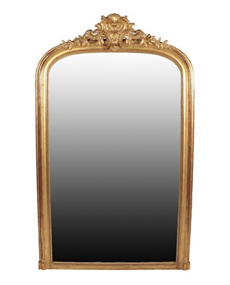 Lot 21 - A French Gilt and Gesso Overmantel Mirror, 3rd quarter 19th century, the beaded and moulded...