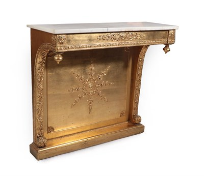 Lot 22 - A Victorian Gilt and Gesso Console Table, 3rd quarter 19th century, the later grey and white...