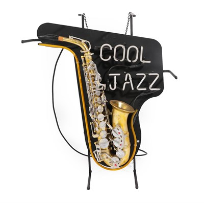 Lot 28 - A Neon Display Sign, inscribed COOL JAZZ over a gilt and silvered composition saxophone on a...