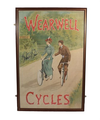 Lot 30 - An Advertising Poster for Wearwell Cycles, depicting a male and female cyclist, 144cm by 96cm