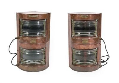 Lot 32 - A Pair of ''Meteorite'' Copper Ship's Lanterns, stamped for Port and Starboard and with plaques...