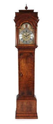 Lot 37 - A Walnut Eight Day Longcase Clock, case with caddied pediment, glazed viewing side windows,...