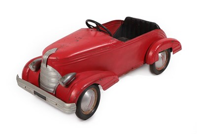 Lot 40 - A 1920's/30's Metal Bodied and Red Painted Child's Pedal Car, with stylised mascot grille and...
