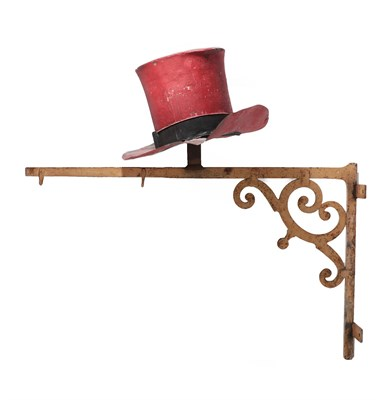 Lot 41 - A Painted Metal Top Hat Shop Sign, painted red with a black band, 35cm high; mounted on A...