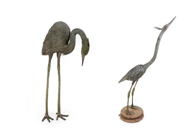 Lot 51 - An Early 20th Century Lead Figure of a Heron, 127cm high; and Another Similar Figure, cast in...